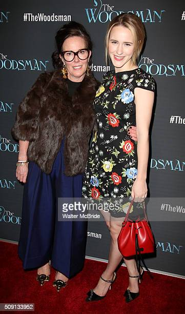 Kate Spade and Rachel Brosnahan attend the OffBroadway Opening Night Performance of 'The Woodsman' at The New World Stages on February 8 2016 in New...