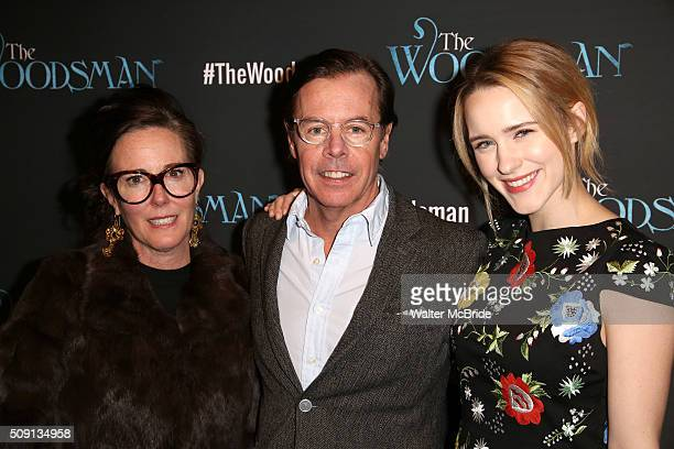 Kate Spade Andy Spade and Rachel Brosnahan attend the OffBroadway Opening Night Performance of 'The Woodsman' at The New World Stages on February 8...