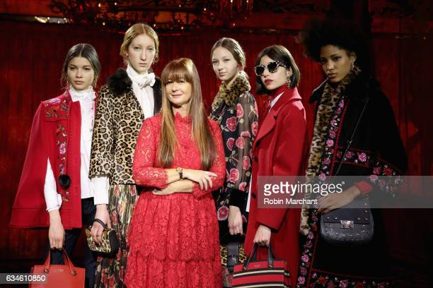 kate spade Chief Creative Officer Deborah Lloyd poses with models wearing the Spring 2017 collection at kate spade new york Spring 2017 Fashion...