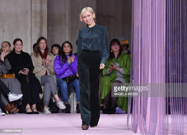 Kate Spade Creative Director Nicola Glass walks the runway at the Kate Spade AW19 Collection at Cipriani 25 Broadway during New York Fashion Week on...