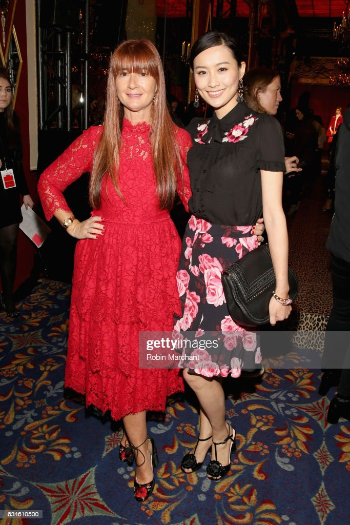 kate spade new york Chief Creative Officer Deborah Lloyd (L) and actress Fala Chen pose at kate spade new york Spring 2017 Fashion Presentation at Russian Tea Room on February 10, 2017 in New York City.