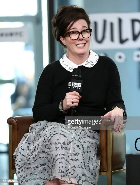 Kate Spade speaks on stage at Build Series Presents Kate Spade and Andy Spade Discussing Their Latest Project Frances Valentine at Build Studio on...