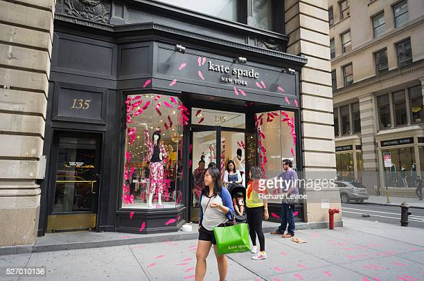 Kate Spade store on Fifth Avenue, decorated in pink two and three dimensional high heel shoes, in the Flatiron neighborhood of New York on Saturday,...