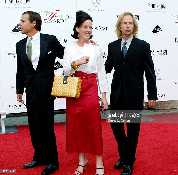 Kate Spade with her huband left and her brother David right attend the Council of Fashion Designers of America''s 20th Annual American Fashion Awards...
