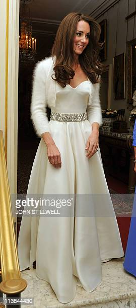 Kate the Duchess of Cambridge leaves Clarence House to travel to Buckingham Palace for the evening celebrations following her wedding to Prince...