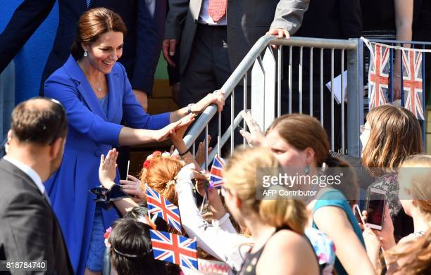 Kate the Duchess of Cambridge visits a project for street kids in Berlin on July 19 2017 The British royal couple is on a threeday visit in Germany /...