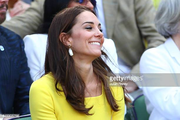 Kate The Dutches of Cambridge watches on from The Royal Box on day ten of the Wimbledon Lawn Tennis Championships at the All England Lawn Tennis and...