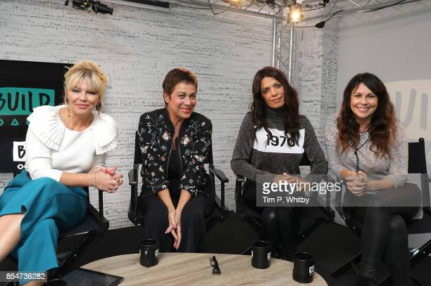 Kate Thirnton Denise Welch Jenny Powell and Julie Graham pose for a photo after discussing the medias role in ageism during a BUILD LND event at AOL...