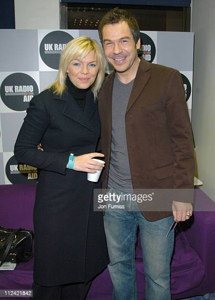 Kate Thornton and Steve Brookstein during UK Radio Aid to Benefit Victims of the Asian Tsunami Green Room at Capital Radio in London United Kingdom