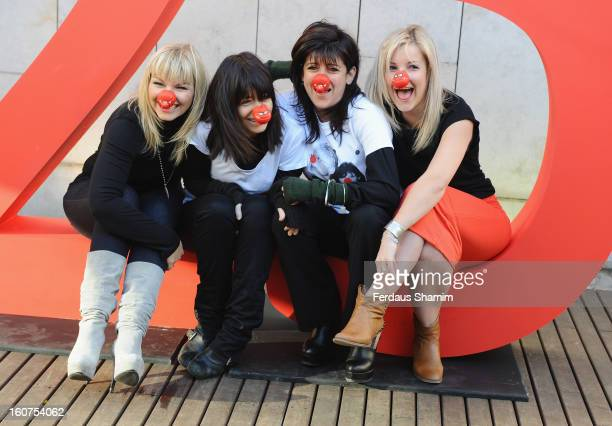 Kate Thornton Claudia Winkleman Emma Freud and Helen Skelton attend a photocall to celebrate 25 yeas of Red Nose Day for Comic Relief at Southbank...