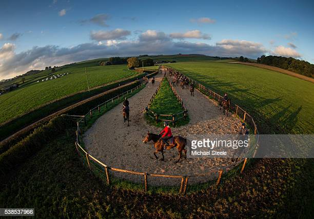 Kate Tracey riding Fingal Bay at the woodchip turn on October 14 2015 at Sandhill Racing Stables in Minehead England Sandhill Racing Stables set in...