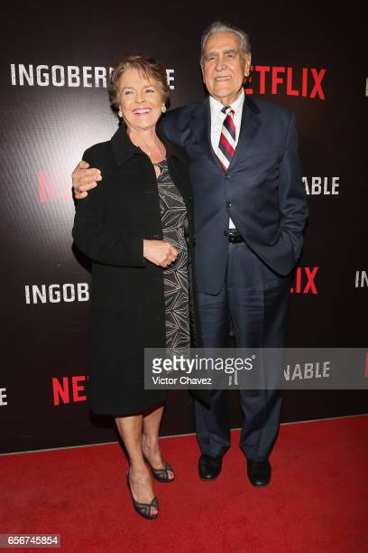 Kate Trillo Graham and Eric del Castillo attend the launch of Netflix's series Ingobernable red carpet at Auditorio BlackBerry on March 22 2017 in...
