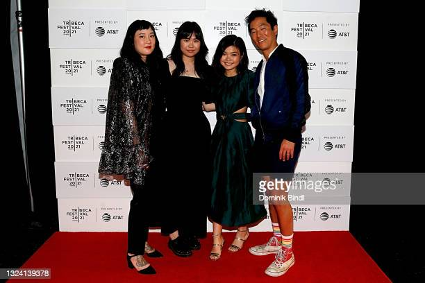 """Kate Tsang, Kannon Omachi, Miya Cech and Leonardo Nam attend the 2021 Tribeca Festival premiere of """"Marvelous And The Black Hole"""" at at Pier 76 on..."""
