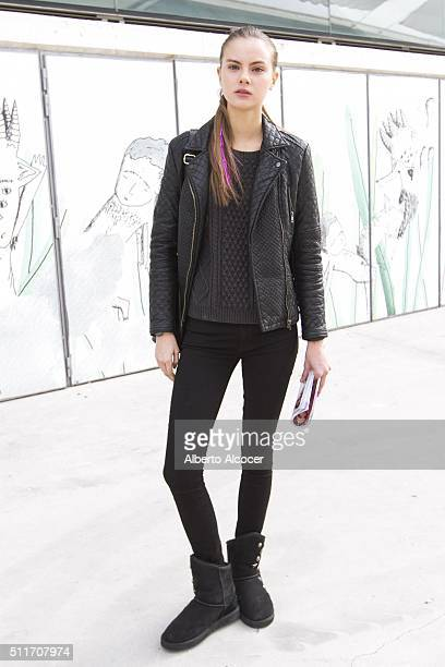 Kate Ugg wears Gap total look during Mercedes Benz Fashion Week at Ifema on February 19 2016 in Madrid Spain