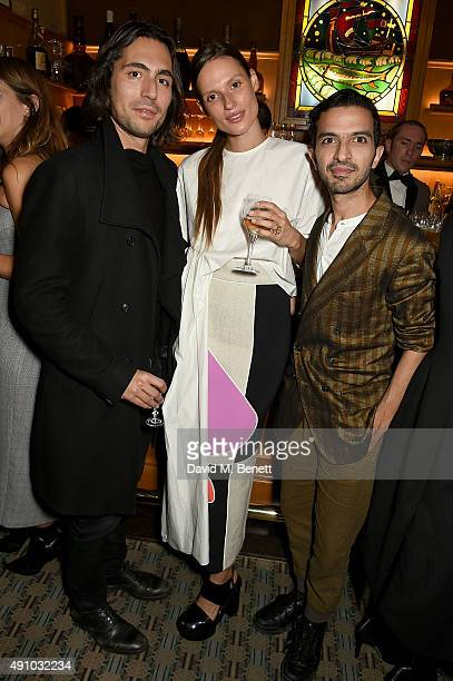 Kate Underwood and Imran Amed attend the Roksanda Ten Year Anniversary Dinner at Caviar Kaspia on October 2 2015 in Paris France