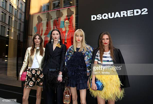 Kate Underwood Audrey Nurit Mathilda Lowther and Sanne Vloet attend the DSQUARED2 celebration of London Flagship Opening on April 21 2015 in London...