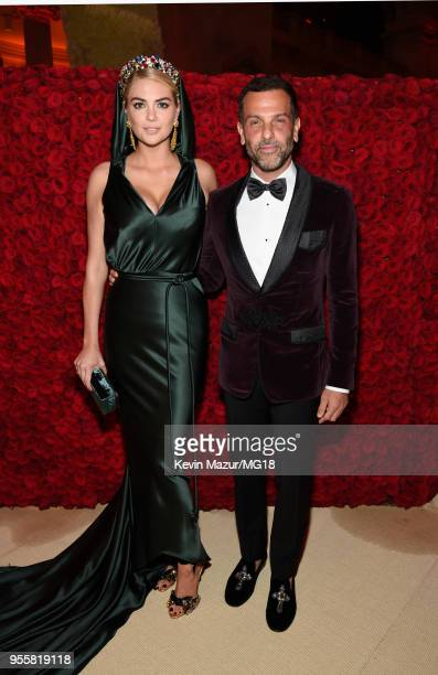 Kate Upton and Alexandre Birman attend the Heavenly Bodies Fashion The Catholic Imagination Costume Institute Gala at The Metropolitan Museum of Art...
