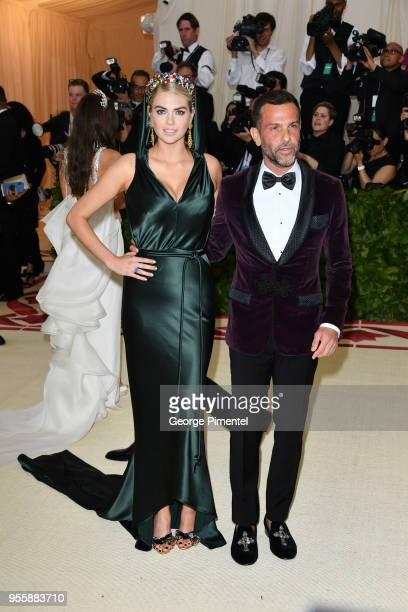 Kate Upton and Alexandre Birman attend the Heavenly Bodies Fashion The Catholic Imagination Costume Institute Gala at Metropolitan Museum of Art on...