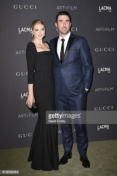 Kate Upton and Justin Verlander attend the 2016 LACMA ArtFilm Gala Arrivals at LACMA on October 29 2016 in Los Angeles California