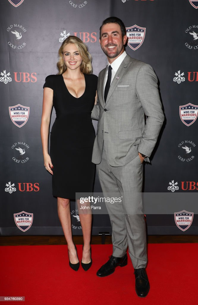 Kate Upton and Justin Verlander attend 'Uncork For A Cause' To Benefit Wins For Warriors Foundation at Old Marsh Golf Club on March 19, 2018 in Palm Beach Gardens, Florida.