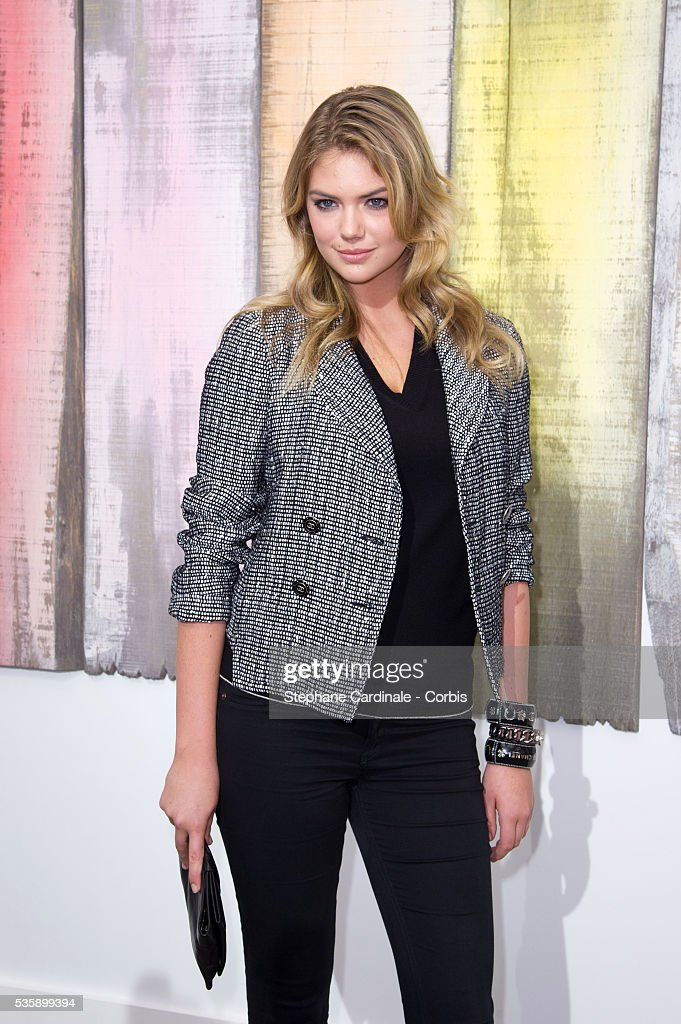 Kate Upton attends Chanel show, as part of the Paris Fashion Week Womenswear Spring/Summer 2014, at the Grand Palais in Paris.