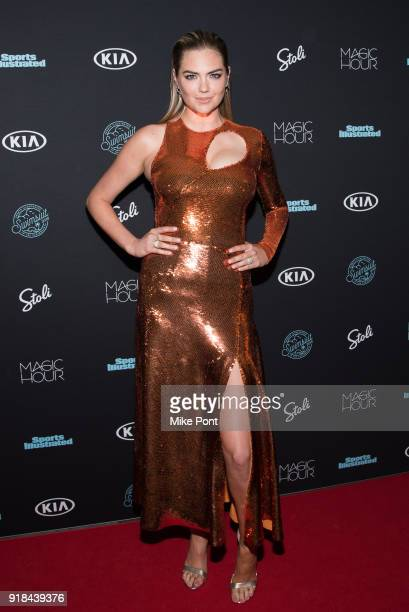 Kate Upton attends the 2018 Sports Illustrated Swimsuit Issue Launch Celebration at Magic Hour at Moxy Times Square on February 14 2018 in New York...