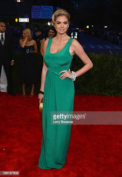 Kate Upton attends the Costume Institute Gala for the PUNK Chaos to Couture exhibition at the Metropolitan Museum of Art on May 6 2013 in New York...