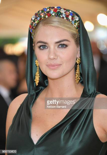 Kate Upton attends the Heavenly Bodies Fashion The Catholic Imagination Costume Institute Gala at The Metropolitan Museum of Art on May 7 2018 in New...