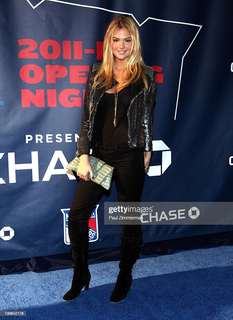 Kate Upton attends the New York Rangers home opener at Madison Square Garden on October 27, 2011 in New York City.
