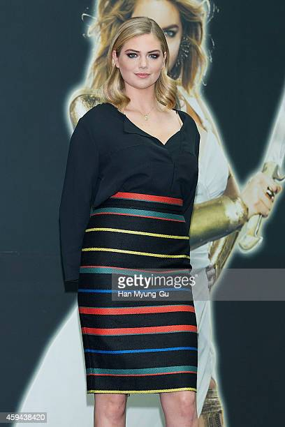 """Kate Upton attends the promotional event for """"Game Of War - Fire Age"""" at Times Square on November 23, 2014 in Seoul, South Korea."""