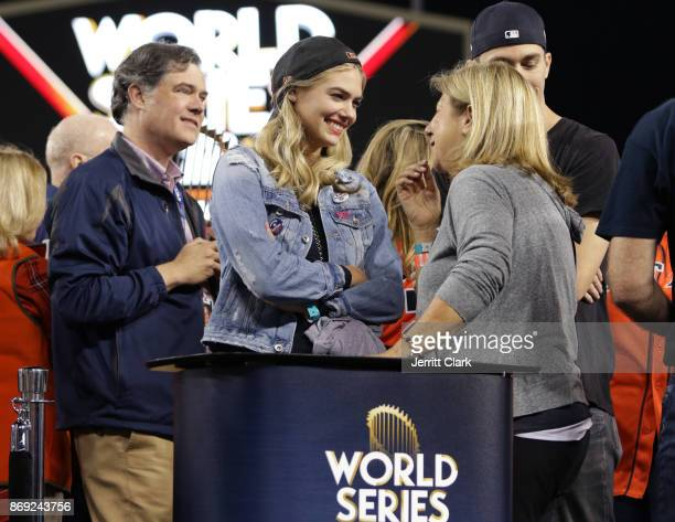 Kate Upton attends the The 2017 World Series Game 7 at Dodger Stadium on November 1 2017 in Los Angeles California