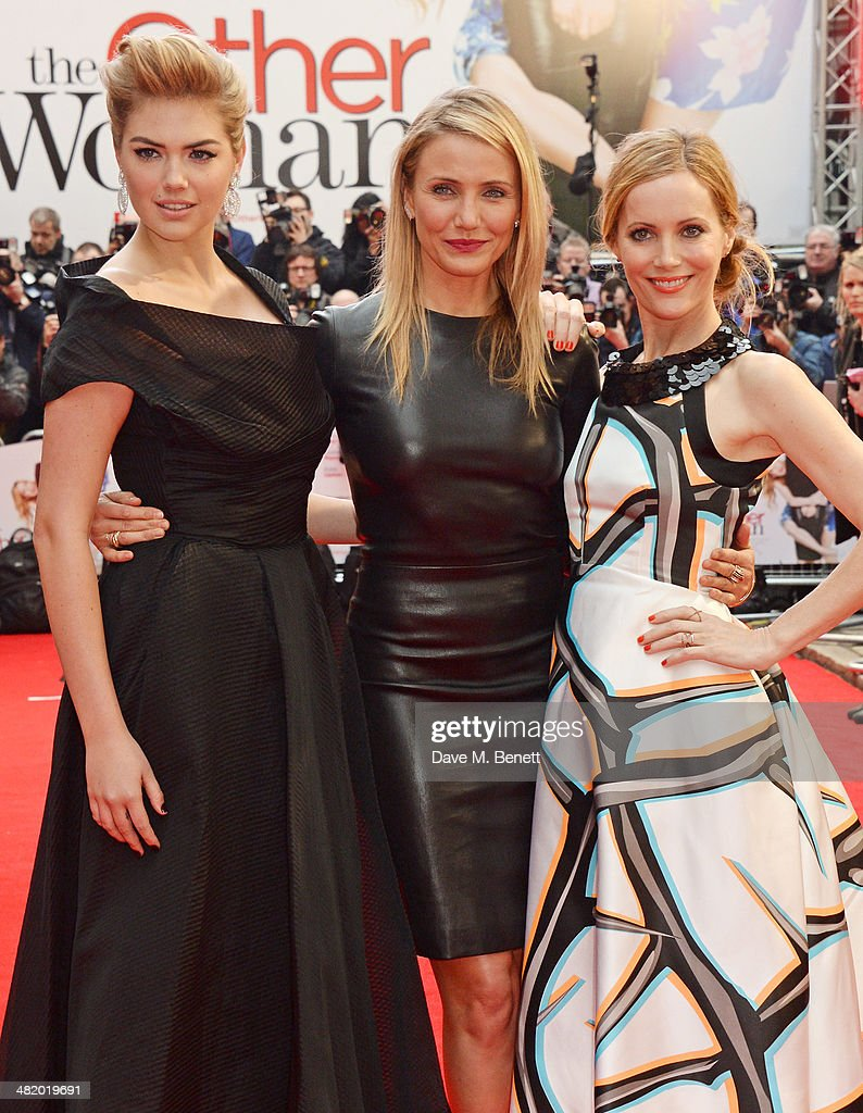 Kate Upton, Cameron Diaz and Leslie Mann attend the UK Gala Premiere of 'The Other Woman' at The Curzon Mayfair on April 2, 2014 in London, England.
