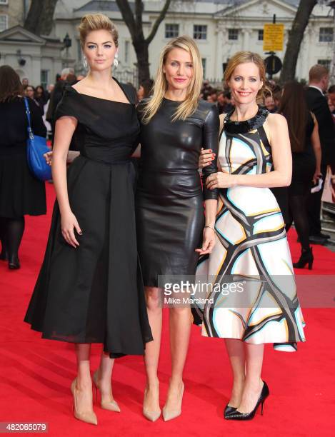 """Kate Upton, Cameron Diaz and Leslie Mann attend the UK Gala premiere of """"The Other Woman"""" at The Curzon Mayfair on April 2, 2014 in London, England."""