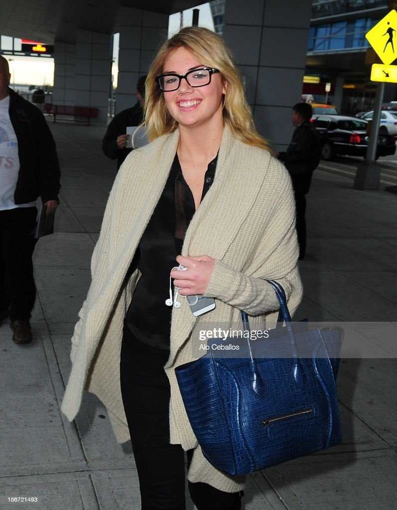 Kate Upton is seen arriving at JFK Airport at Streets of Manhattan on November 19, 2012 in New York City.