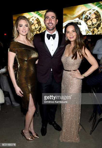 Kate Upton Justin Verlander and Olivia Munn at the Dinner show of the '#LEGENDARYFUTURE' Roadshow 2018 New York on February 22 2018