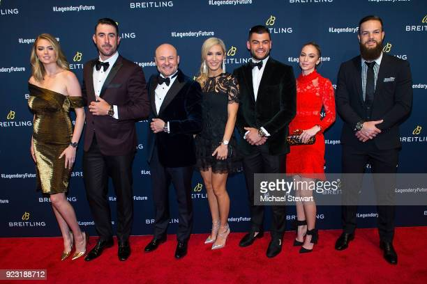 Kate Upton Justin Verlander Georges Kern Kara McCullers Lance McCullers Jr Mackenzie Valk and Dallas Keuchel attend Breitling Celebrates The North...