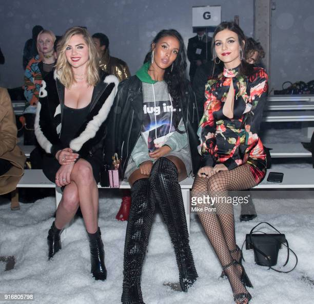 Kate Upton Maya Jama and Victoria Justice attend the Philipp Plein fashion show during New York Fashion Week The Shows on February 10 2018 in New...