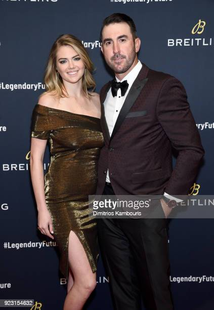 Kate Upton with Justin Verlander on the red carpet at the #LEGENDARYFUTURE Roadshow 2018 New York on February 22 2018