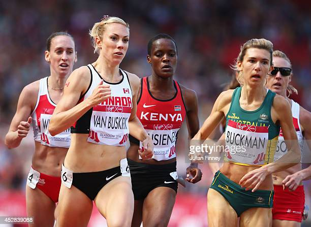 Kate van Buskirk of Canada and Zoe Buckman of Australia compete in the Women's 1500 metres Round 1 at Hampden Park during day five of the Glasgow...