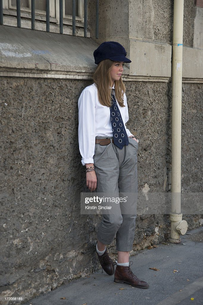 Kate Villevoye wears a Jupe by Jackie hat and tie on day 5 of Paris Collections: Men on June 30, 2013 in Paris, France.