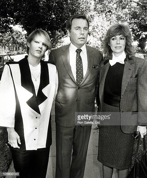 Kate Wagner, Robert Wagner, and Jill St. John during Memorial Service for David Niven - October 22, 1983 at All Saints Church in Beverly Hills,...