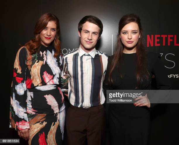 Kate Walsh Dylan Minnette and Katherine Langford attend the Netflix's '13 Reasons Why' FYC Event at Netflix FYSee Space on June 2 2017 in Beverly...