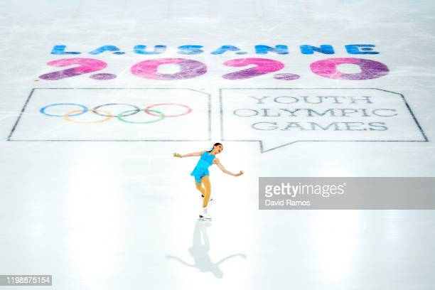 Kate Wang of the United States competes in the Figure Skating Women Single Skating Short Program during day 2 of the Lausanne 2020 Winter Youth...