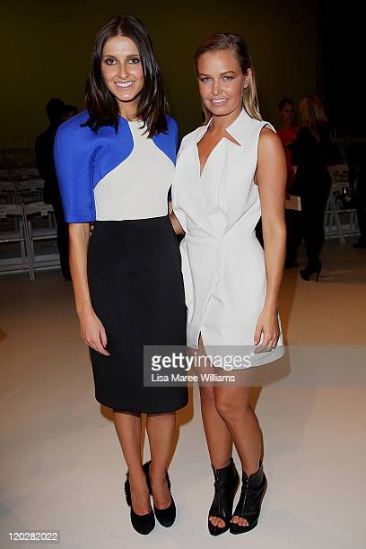 Kate Waterhouse and Lara Bingle arrives at the David Jones Spring/Summer 2011 season launch at the Royal Hall of Industries Moore Park on August 3...