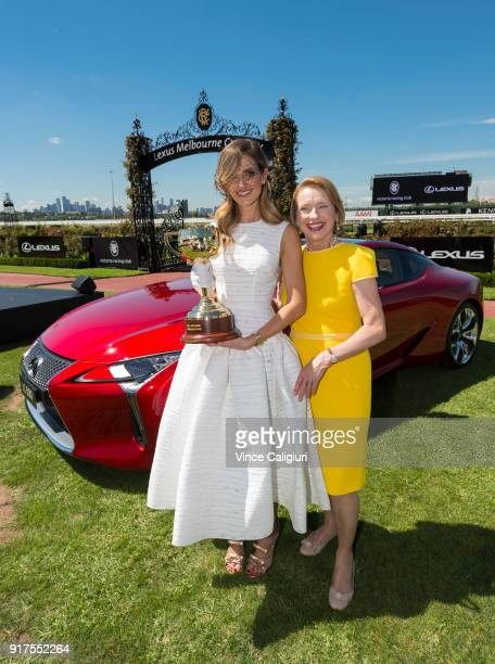 Kate Waterhouse and mother Gai Waterhouse pose with the 2018 Melbourne Cup during the VRC Melbourne Cup Sponsorship Announcement at Flemington...
