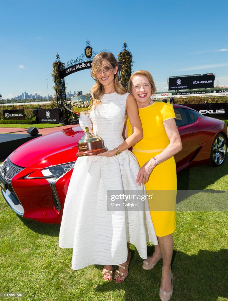 Kate Waterhouse and mother Gai Waterhouse pose with the 2018 Cup during the VRC Melbourne Cup Sponsorship Announcement at Flemington Racecourse on February 13, 2018 in Melbourne, Australia. The VRC announced global luxury lifestyle brand Lexus as the new Melbourne Cup Principal Partner at Flemington Racecourse.