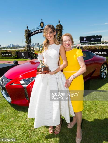Kate Waterhouse and mother Gai Waterhouse pose with the 2018 Cup during the VRC Melbourne Cup Sponsorship Announcement at Flemington Racecourse on...