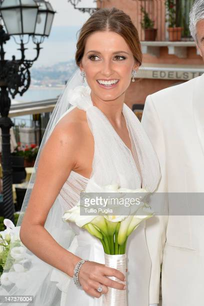 Kate Waterhouse attends her wedding to Luke Ricketson on June 28 2012 in Taormina Italy