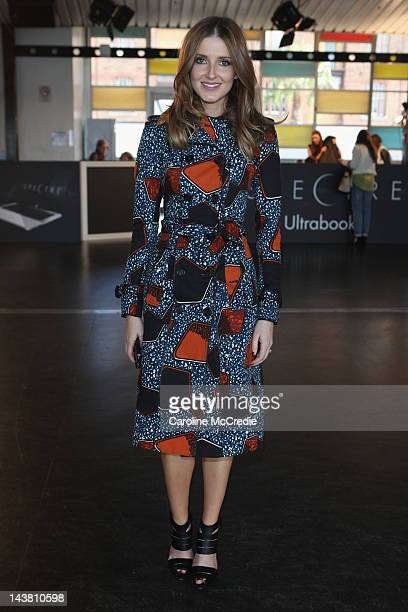 Kate Waterhouse poses as she arrives for the Akira catwalk show on day five of MercedesBenz Fashion Week Australia Spring/Summer 2012/13 at the...