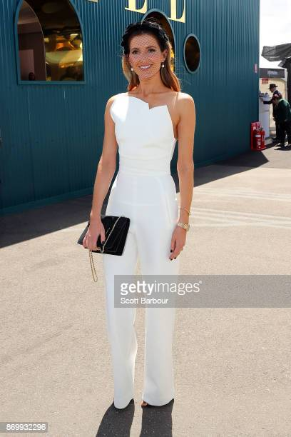 Kate Waterhouse poses at the ELLE Marquee on Derby Day at Flemington Racecourse on November 4 2017 in Melbourne Australia